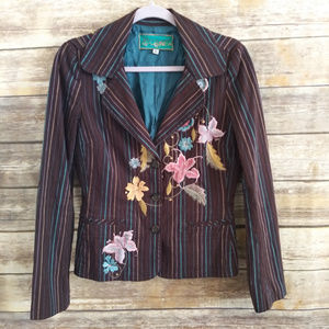 Johnny Was Blazer Jacket Embroidered Floral Small
